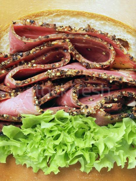 Carne sanduíche jantar cor refeição Foto stock © zkruger