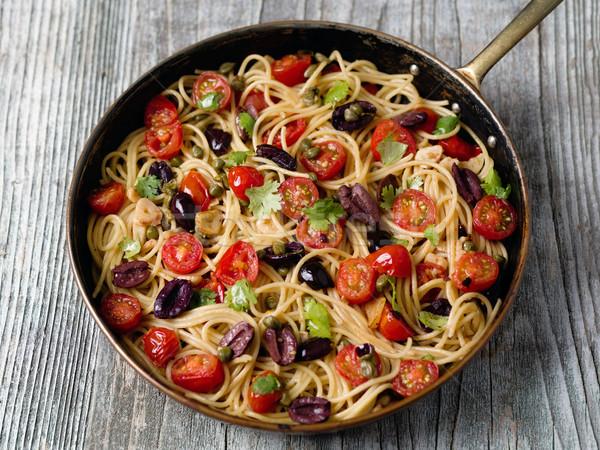 Rusztikus olasz spagetti tészta közelkép senki Stock fotó © zkruger