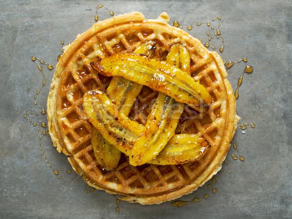 Rustiek zoete banaan wafel siroop Stockfoto © zkruger