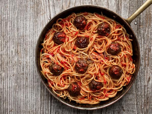 Rusztikus amerikai olasz spagetti közelkép piros Stock fotó © zkruger