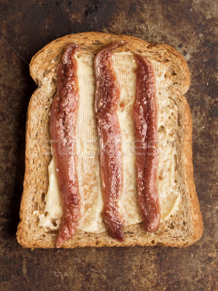 rustic anchovy toast Stock photo © zkruger