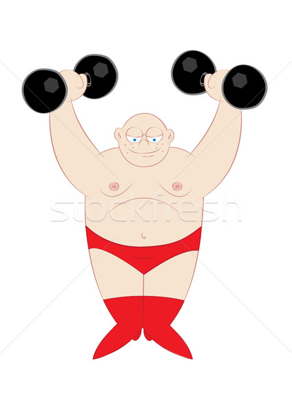cute strong man weightlifting  Stock photo © zkruger