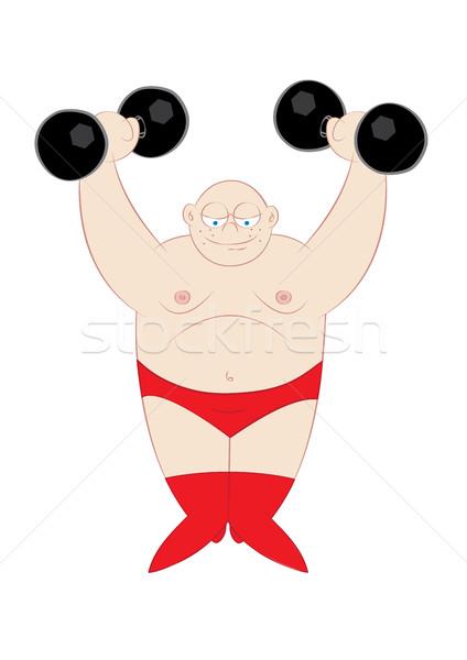 Cute сильный человека тяжелая атлетика фитнес мышцы Сток-фото © zkruger