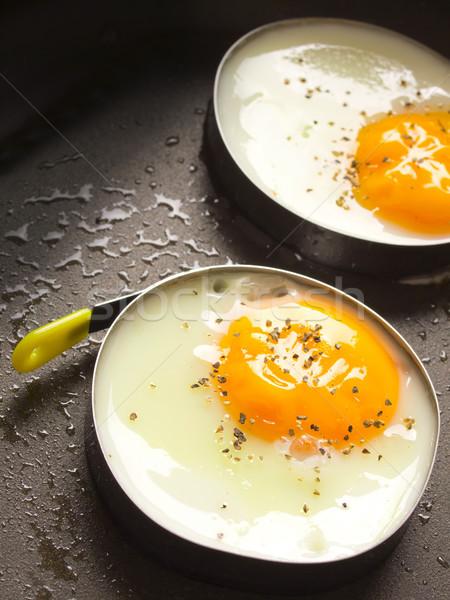 жареный яйца куриные черный Сток-фото © zkruger