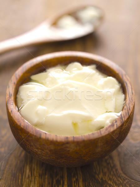 Yoghurt kom voedsel kleur lepel Stockfoto © zkruger