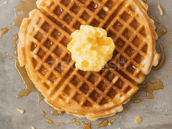 rustic traditional waffle with butter and maple syrup Stock photo © zkruger