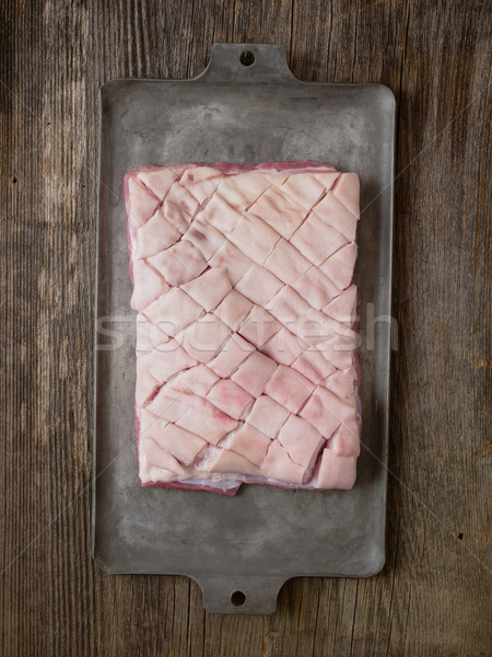 Foto d'archivio: Rustico · greggio · carne · di · maiale · pancia · alimentare