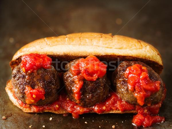 Rusztikus amerikai olasz szendvics közelkép piros Stock fotó © zkruger