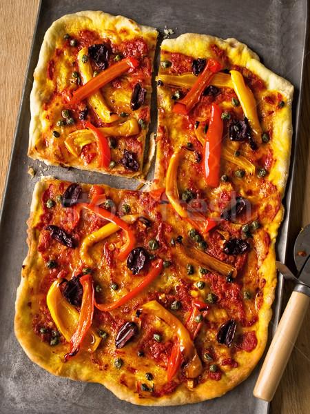 rustic italian thin crust vegetarian pizza Stock photo © zkruger