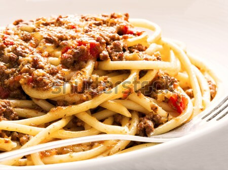 rustic italian spaghetti bolognese food background Stock photo © zkruger