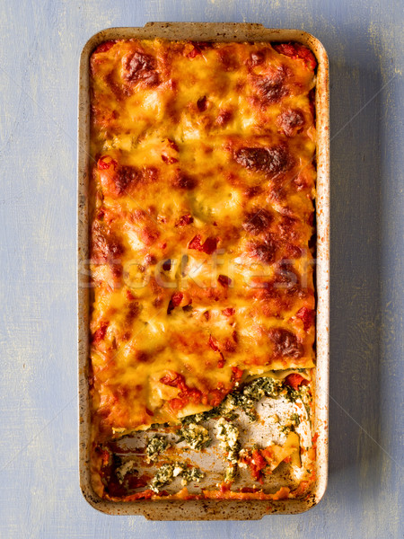 rustic italian baked spinach ricotta cannelloni pasta Stock photo © zkruger