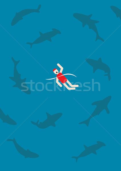 Zwemmen haaien oceaan werken spelen werkplek Stockfoto © zkruger