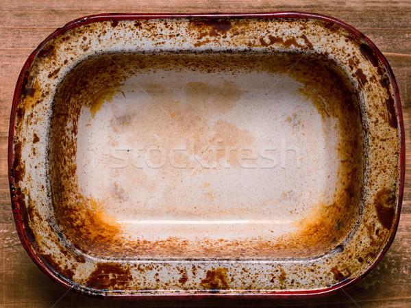 Rusztikus rongyos pite serpenyő közelkép konzervdoboz Stock fotó © zkruger