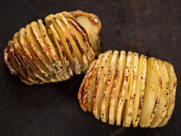 rustic roasted hasselback potato gratin Stock photo © zkruger