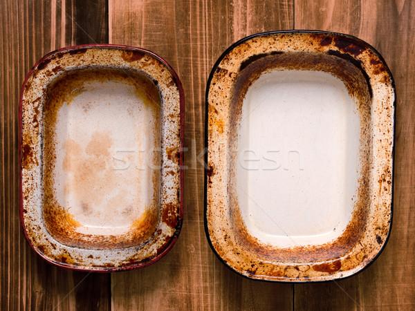 Rusztikus rongyos pite közelkép fém konyha Stock fotó © zkruger