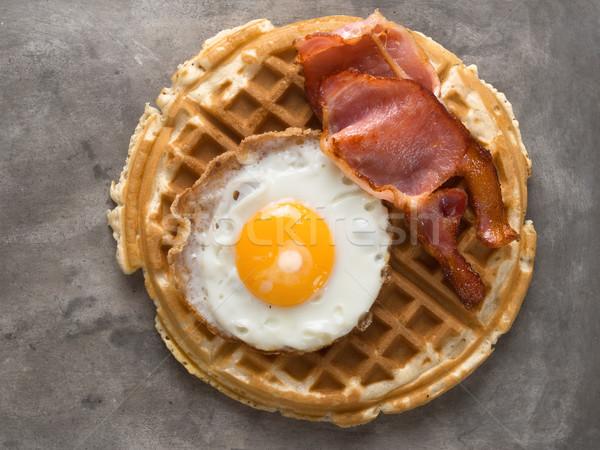 деревенский чабер бекон яйцо вафельный Сток-фото © zkruger