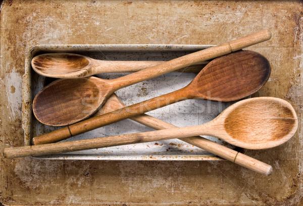 Vintage legno spatola cottura strumento Foto d'archivio © zkruger