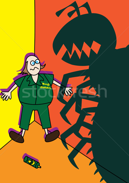 pest control worker fighting monster giant bugs Stock photo © zkruger