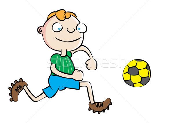 Vicces fehér iskolás fiú játszik futball iskola Stock fotó © zkruger