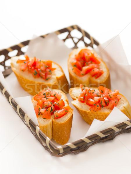 Bruschetta brood mand Rood kleur Stockfoto © zkruger