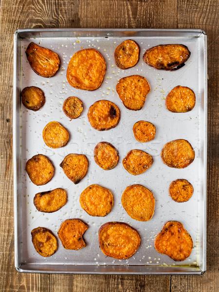 Rustiek gouden zoete aardappel chips kleur Stockfoto © zkruger