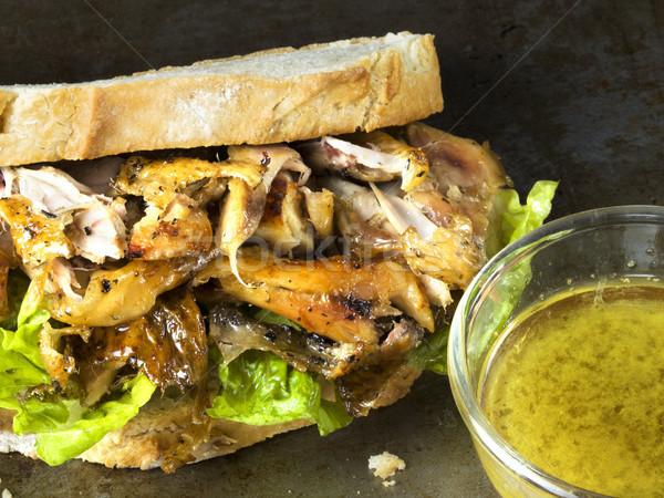 Rustykalny pieczony kurczak kanapkę żywności kurczaka Zdjęcia stock © zkruger