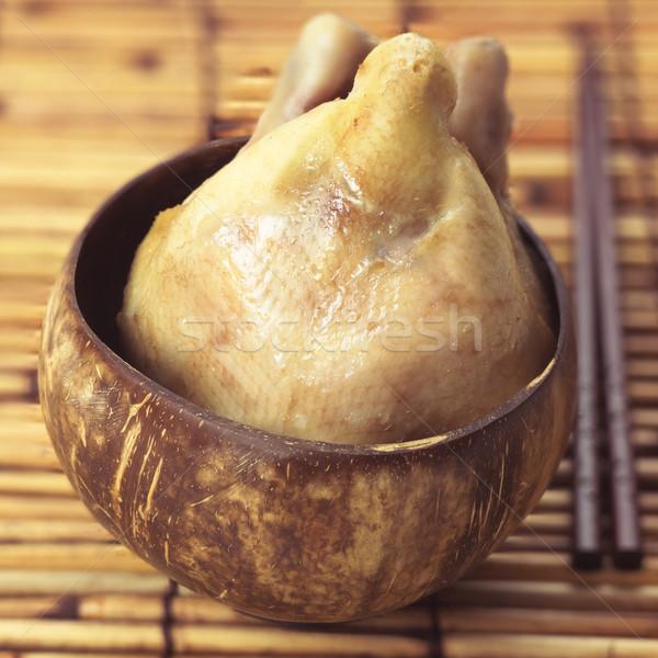 ázsiai párolt tyúk közelkép hús kókusz Stock fotó © zkruger