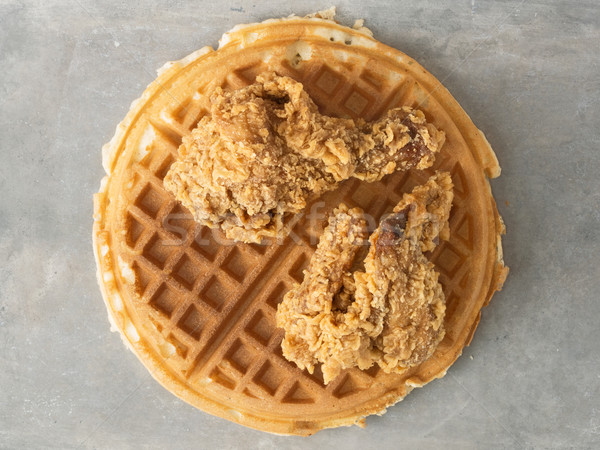 rustic southern american comfort food chicken waffle Stock photo © zkruger
