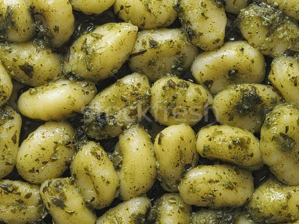 italian gnocchi in pesto sauce food background Stock photo © zkruger