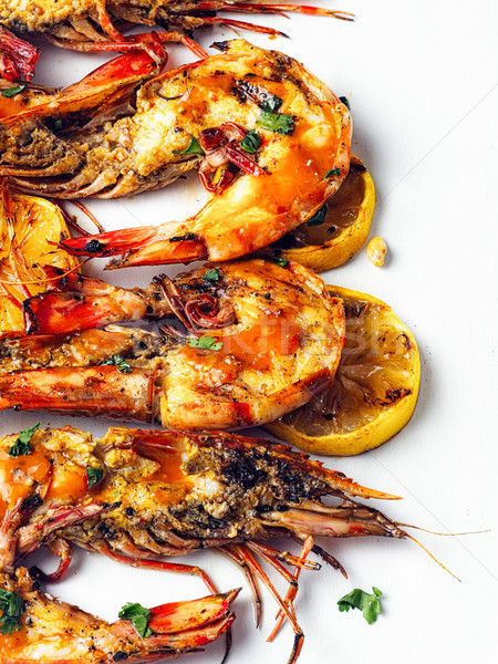 rustic piri-piri grilled prawn Stock photo © zkruger