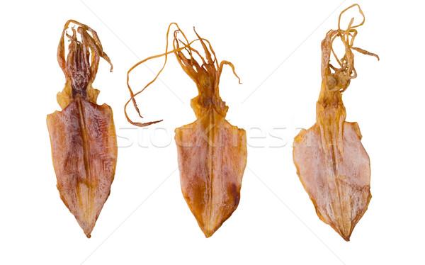 Essiccati calamari isolato bianco alimentare Foto d'archivio © zkruger