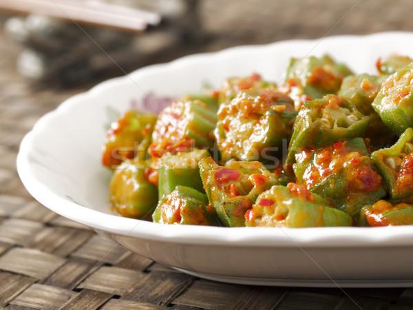 okra in chili shrimp paste Stock photo © zkruger