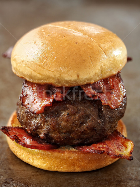 rustic carnivore meat lover hamburger Stock photo © zkruger