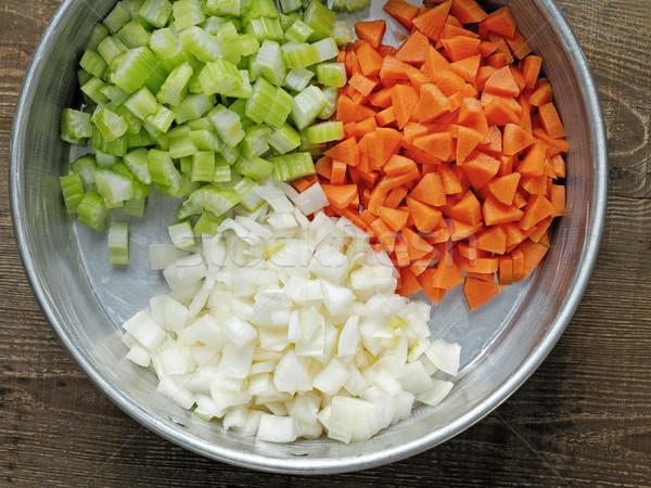 rustic diced carrot onion and celery Stock photo © zkruger