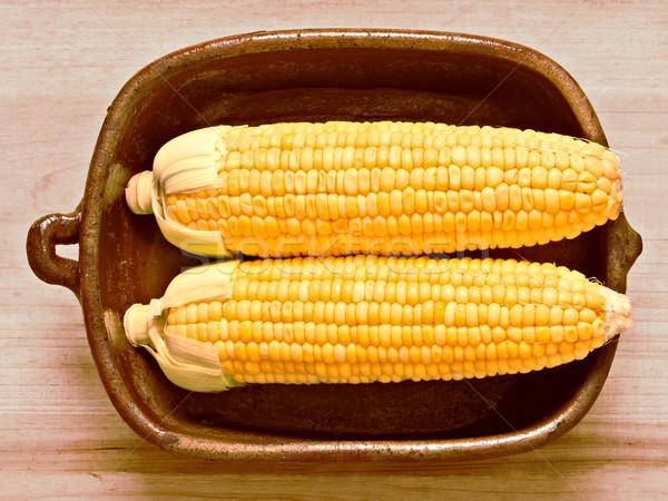 rustic raw uncooked golden corncobs Stock photo © zkruger