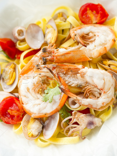 rustic seafood pasta papillote Stock photo © zkruger