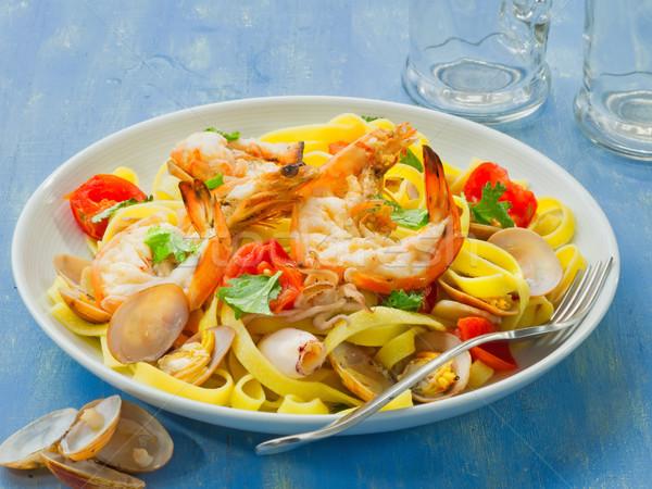 деревенский итальянский морепродуктов пасты пластина Сток-фото © zkruger