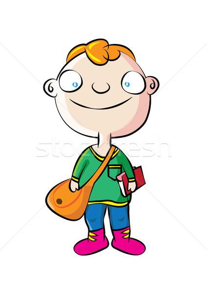Aranyos fehér iskolás fiú iskola fiú táska Stock fotó © zkruger