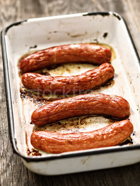 Vassoio rustico salsicce salsiccia Foto d'archivio © zkruger