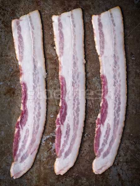 rustic uncooked bacon Stock photo © zkruger
