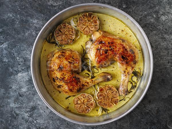 Rustykalny włoski pieczony kurczak czosnku rozmaryn Zdjęcia stock © zkruger