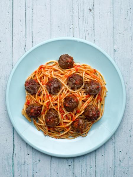 rustic american italian meatball spaghetti Stock photo © zkruger