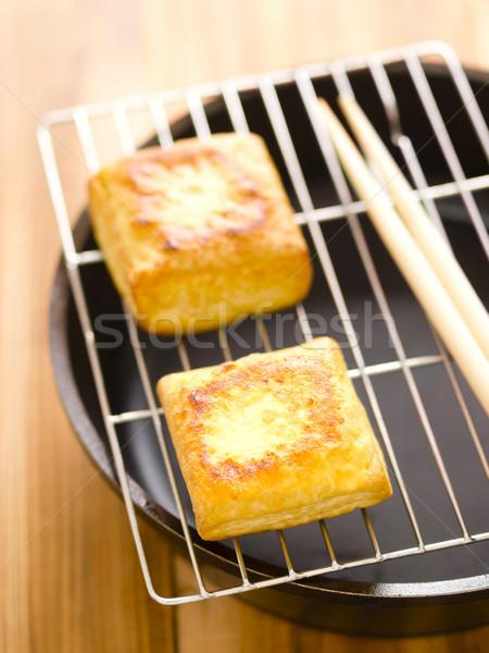 Sült tofu kockák közelkép szín japán Stock fotó © zkruger