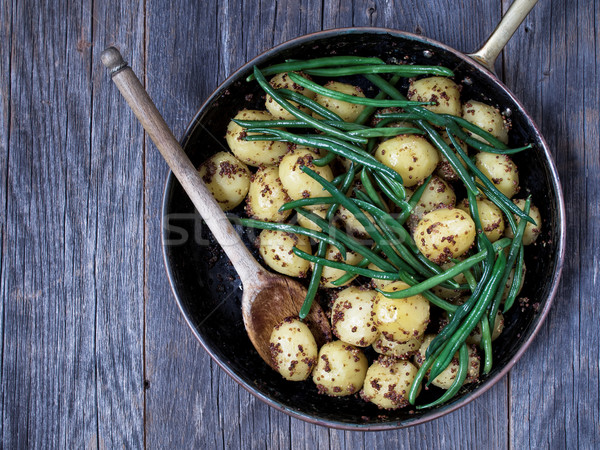 rustic boiled potato in mustard and bean Stock photo © zkruger