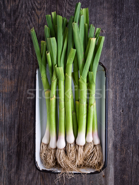 rustic tray of leeks Stock photo © zkruger