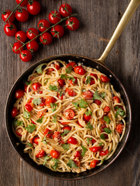 rustic spicy italian crab and cherry tomato spaghetti pasta Stock photo © zkruger