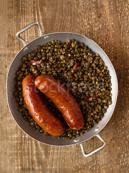 rustic sausage with lentil Stock photo © zkruger