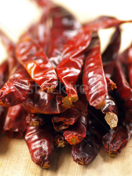 heap of dried red chilies Stock photo © zkruger