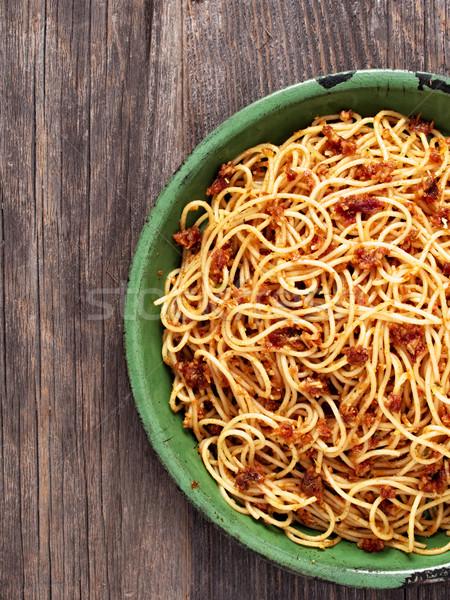 rustic italian sicilian pesto spaghetti Stock photo © zkruger