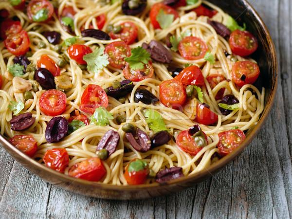 rustic italian spaghetti puttanesca pasta Stock photo © zkruger